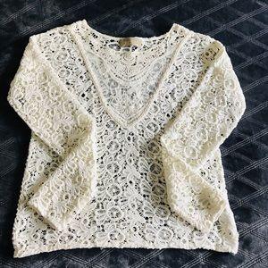 zara trafaluc white lace eyelet blouse